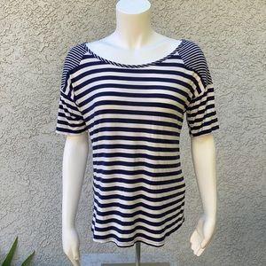 Zoe + Phoebe Blue White Striped Blouse Shirt 👚